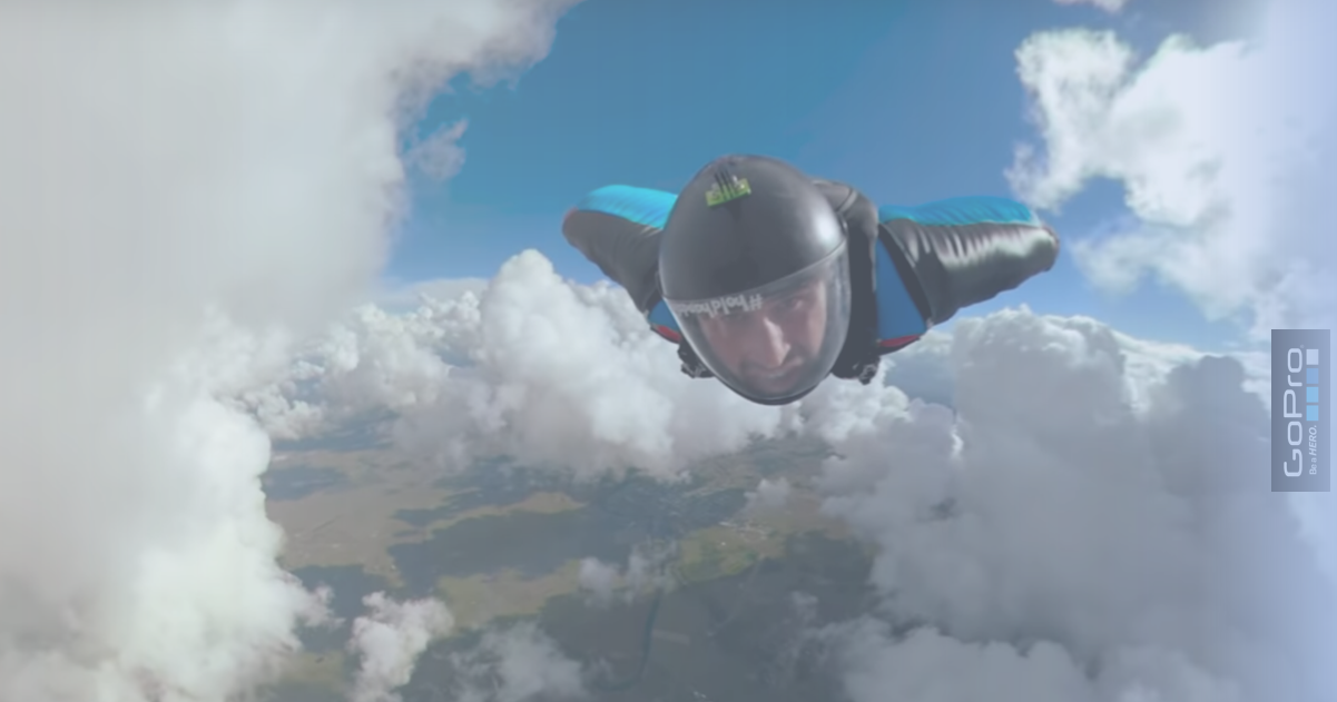 GoPro Awards wingsuit in clouds